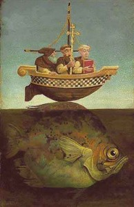illustration of St Brendan and the Great Fish by Amber Coopr Davies