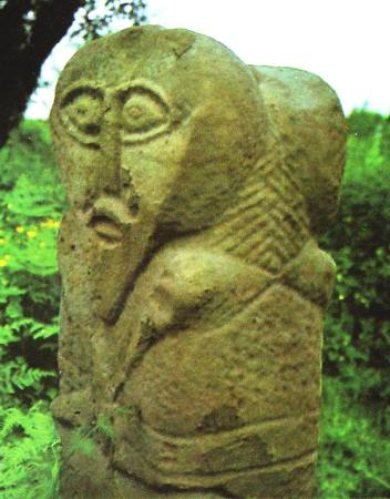 Two-headed stone figure from Boa island, Lough Erne.
