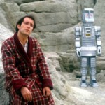 Arthur Dent and Marvin in the TV series, The Hitchhiker's Guide to the Galaxy