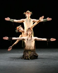 This is Sydney Skybetter, Philip Montana, and Bryan Campbell performing in The Voyage of the Húi Corra (2008). Photo by Tony Dougherty.