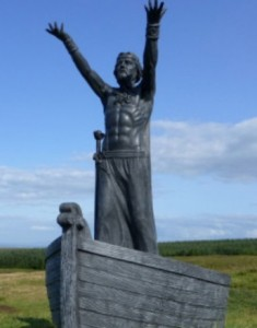 Sculpture of Manannan by John Sutton at Limavady