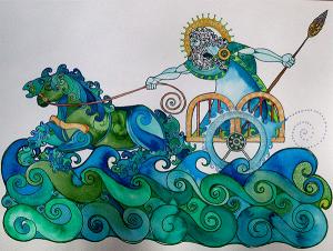 A painting of Manannán Mac Lír in his sea-chariot. Loime Studios