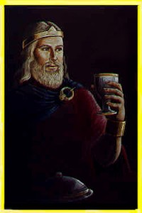 Illustration of a medieval king holding a cup