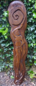 Macha - a sculpture in bog yew by Davy Paton