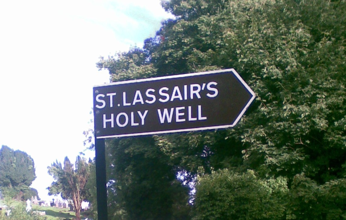 Signpost to St. Lassair's Holy Well